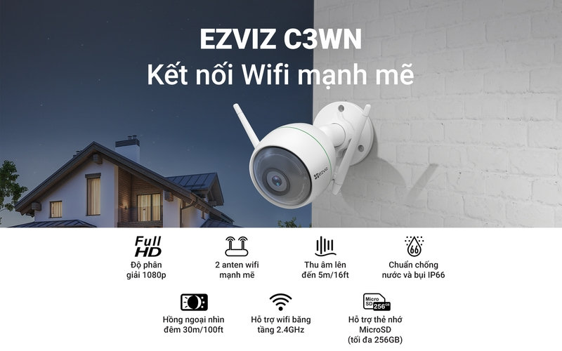 Camera ngoài trời Wifi EZVIZ C3WN 1080P | Khánh Long Camera