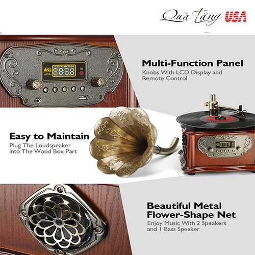 Loa kèn LuguLake Bluetooth Belt-Drive Record Player Turntable, Vintage Phonograph Gramophone