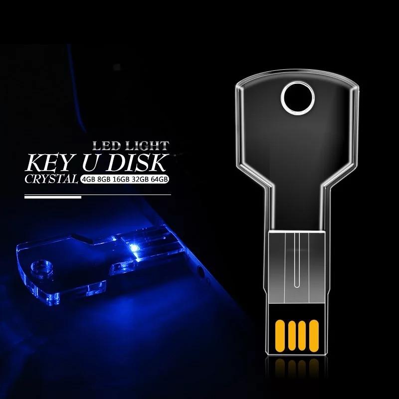 USB CHÌA KHÓA TRONG SUỐT CÓ ĐÈN LED NHIỀU MÀU