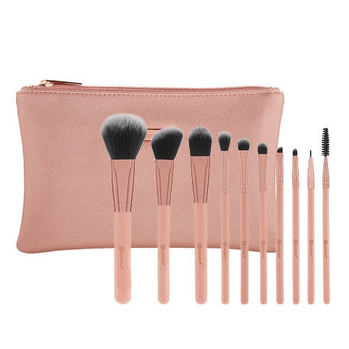 Bộ Cọ 10 Cây BHCosmetics Pretty in Pink 10 Piece Brush Set with Bag