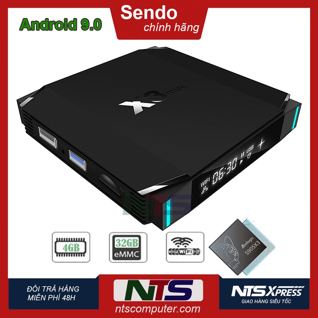 Android TV Box X3 mini - CPU Amlogic S905X3, Ram 4GB, Bộ nhớ trong 32GB, AndroidTV 9
