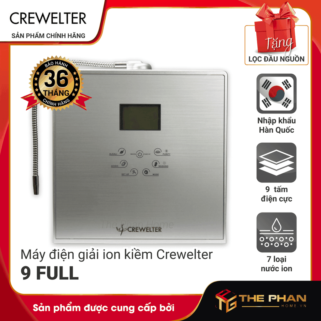 Máy Lọc Nước Điện Giải Ion Kiềm CREWELTER 9 FULL