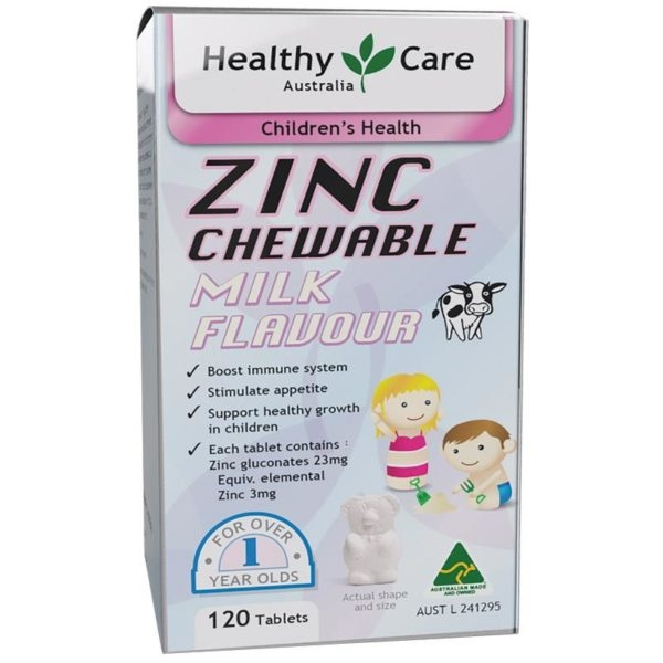 Viên Uống Bổ Sung Kẽm Healthy Care Zinc Milk Flavour 120 Chewable Tablets