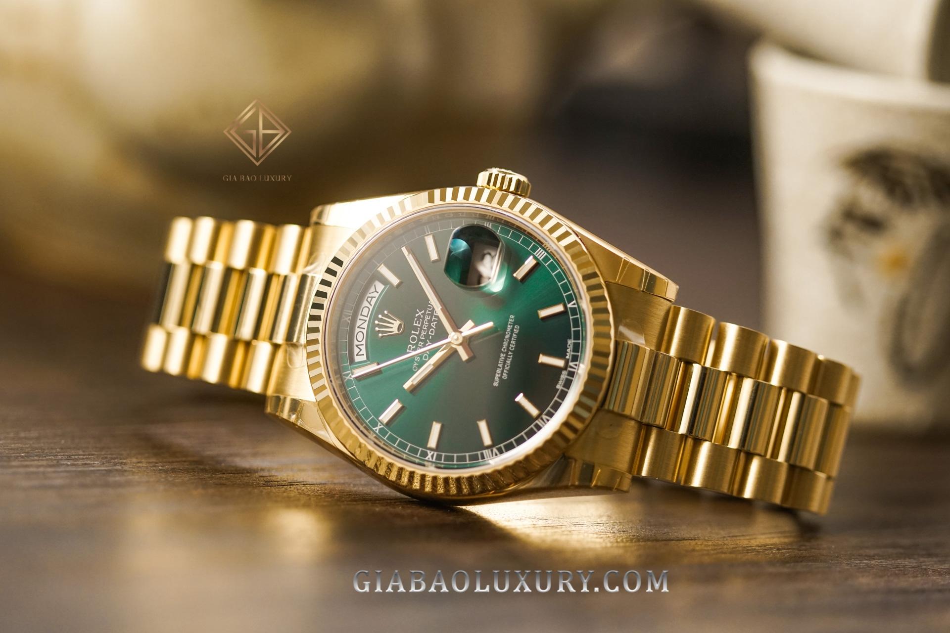 Đồng Hồ Rolex Day-Date 118238 Mặt Số Xanh Lá