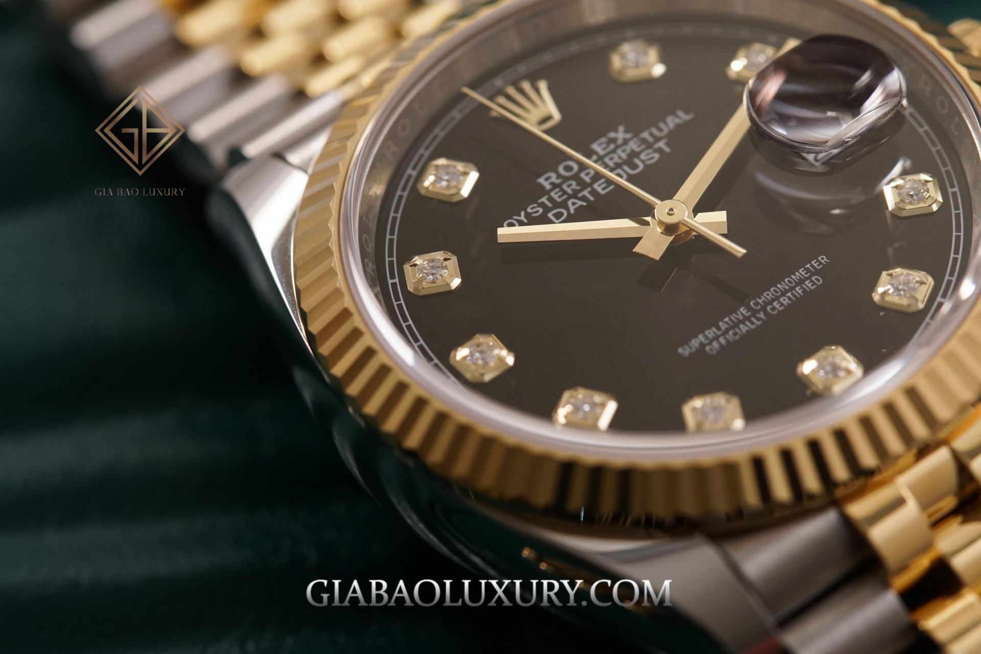 Đồng Hồ Rolex Datejust 36 126233 Mặt Số Đen Nạm Kim Cương