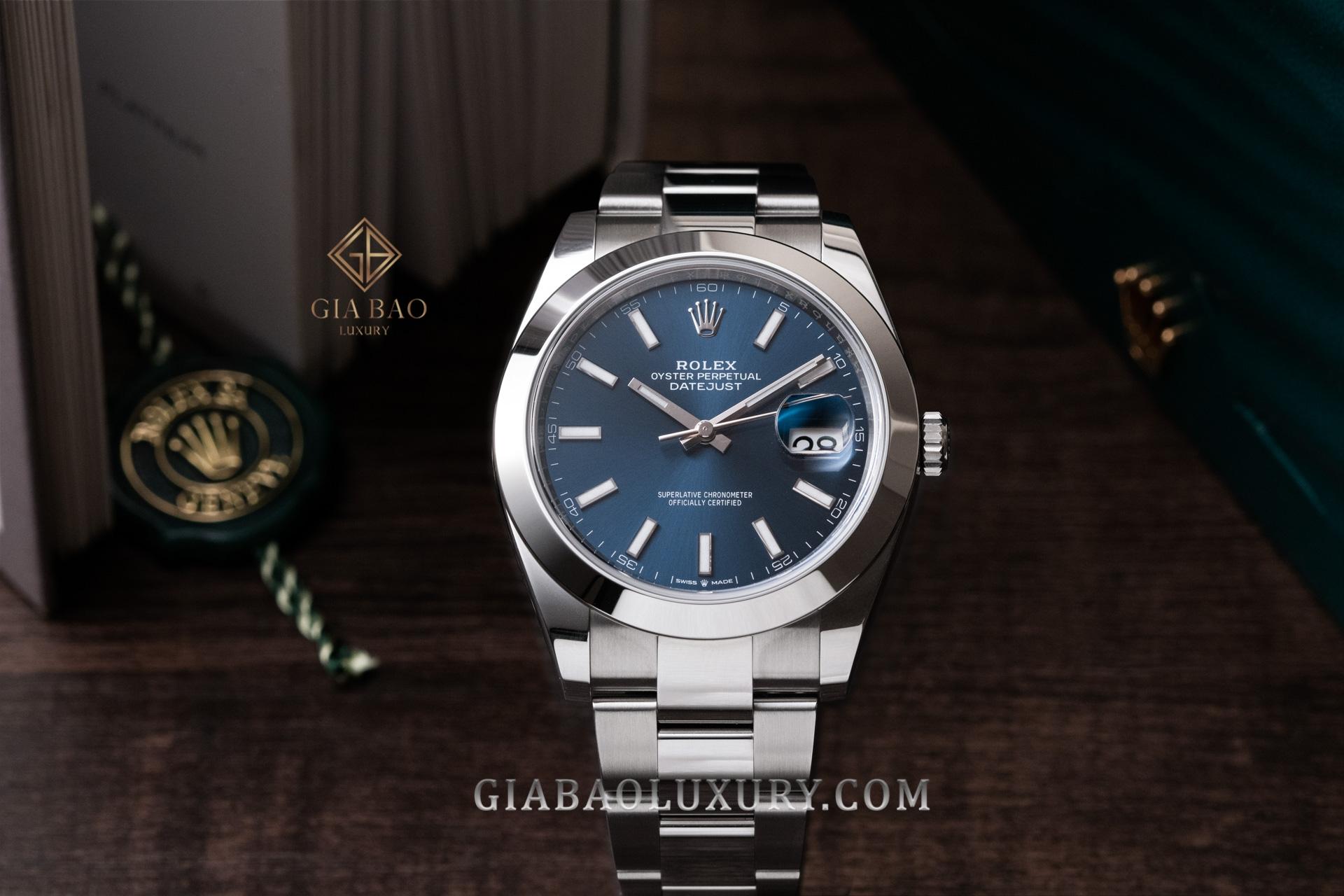 Đồng Hồ Rolex Datejust 41 126300 Mặt Số Xanh Dây Đeo Oyster