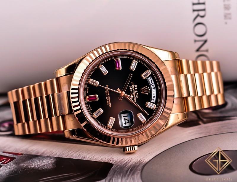 Đồng Hồ Rolex Day-Date II 218235 Mặt Số Đen