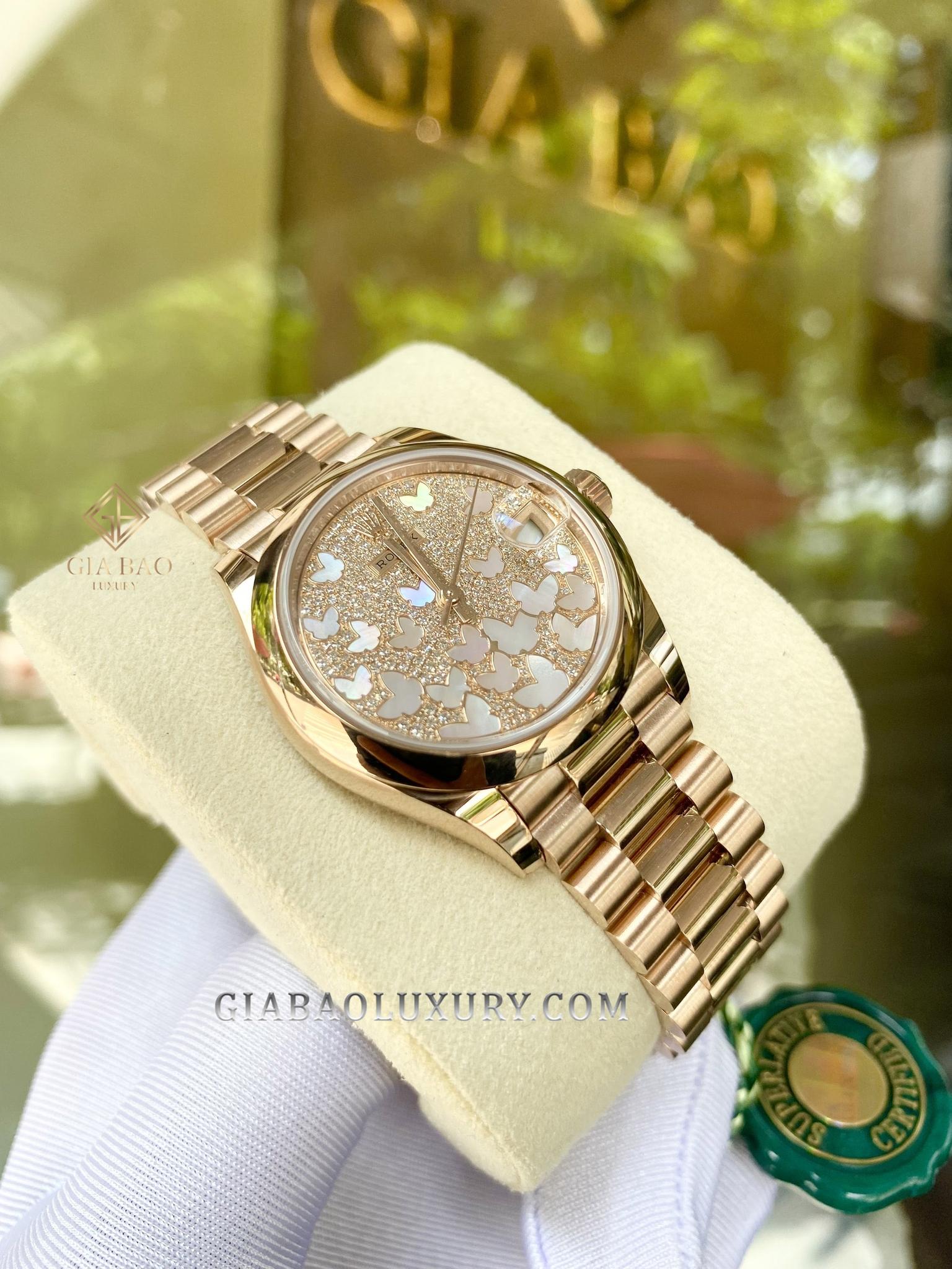 Rolex Datejust 278245 nạm kim cương, hoạ tiết bướm bay