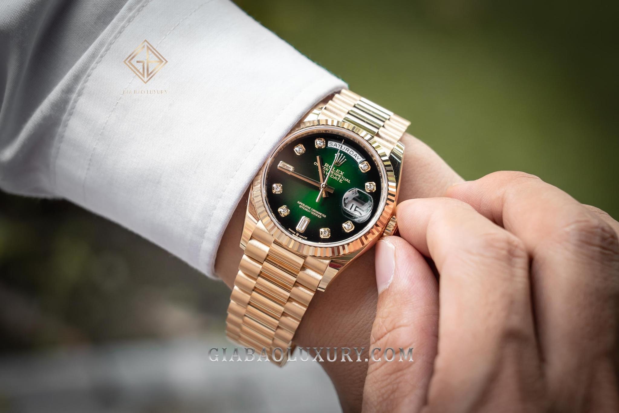 đồng hồ Rolex Day-Date 128238 Mặt xanh lá
