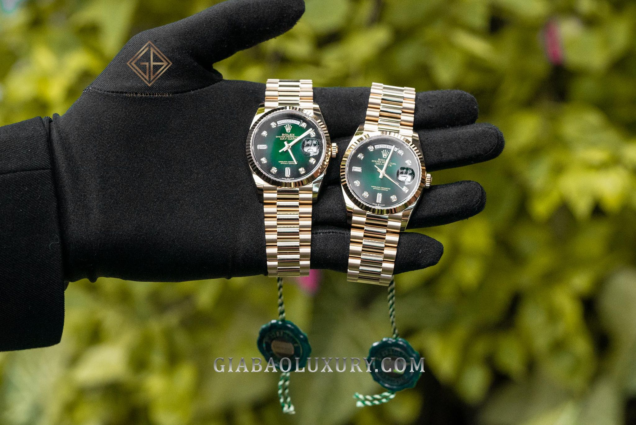 Đồng Hồ Rolex Day-Date 36 128238 Mặt Số Ombre Xanh Lá