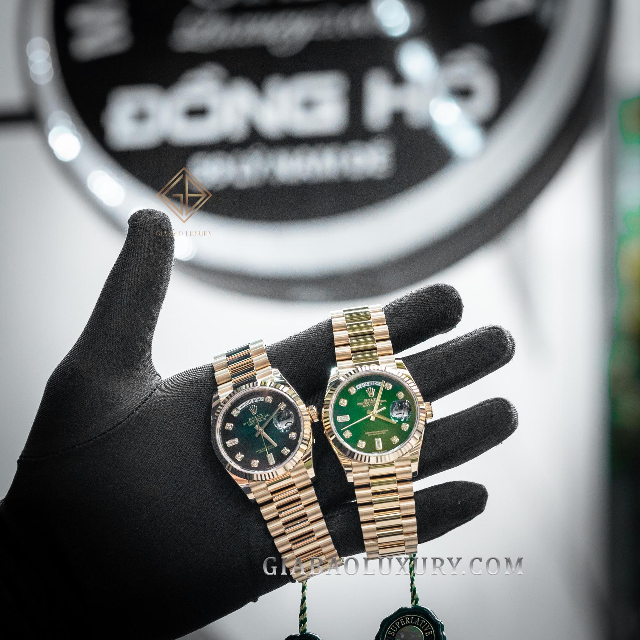 Đồng Hồ Rolex Day-Date 36 128238 Mặt Số Ombre Xanh Lá