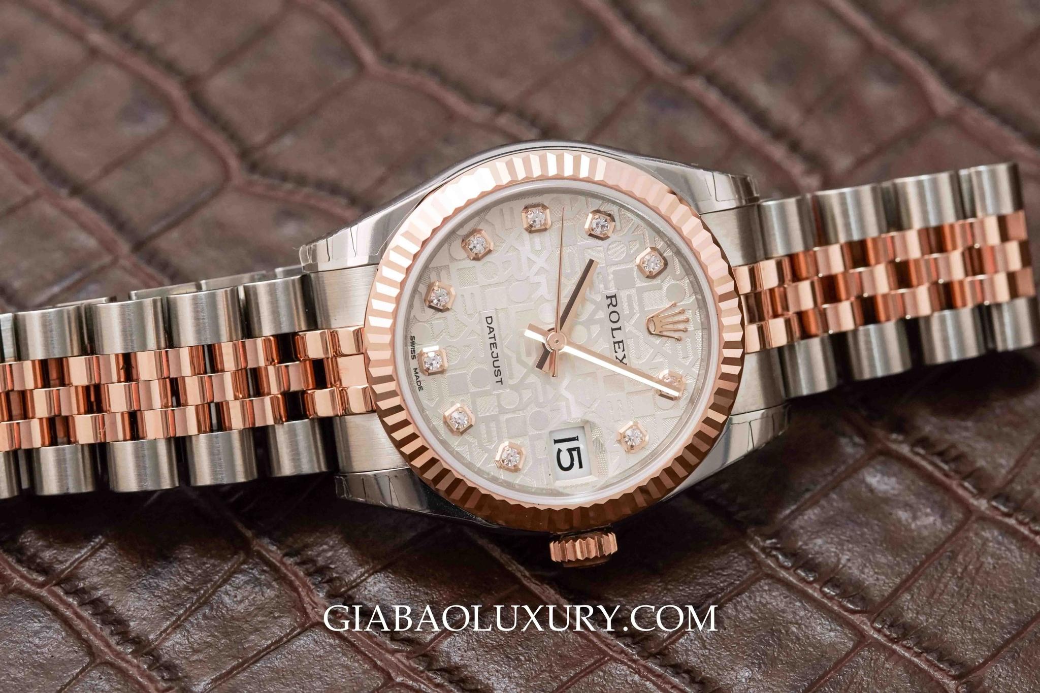 178271 - Rolex Lady Datejust với vành bezel khía và mặt số vi tính nạm kim cương