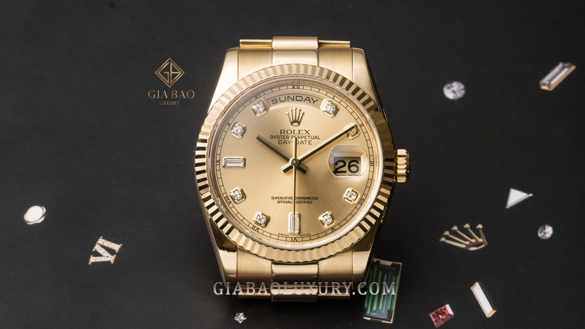 Đồng Hồ Rolex Day Date 36 118238 Mặt Số Champagne Nạm Kim Cương