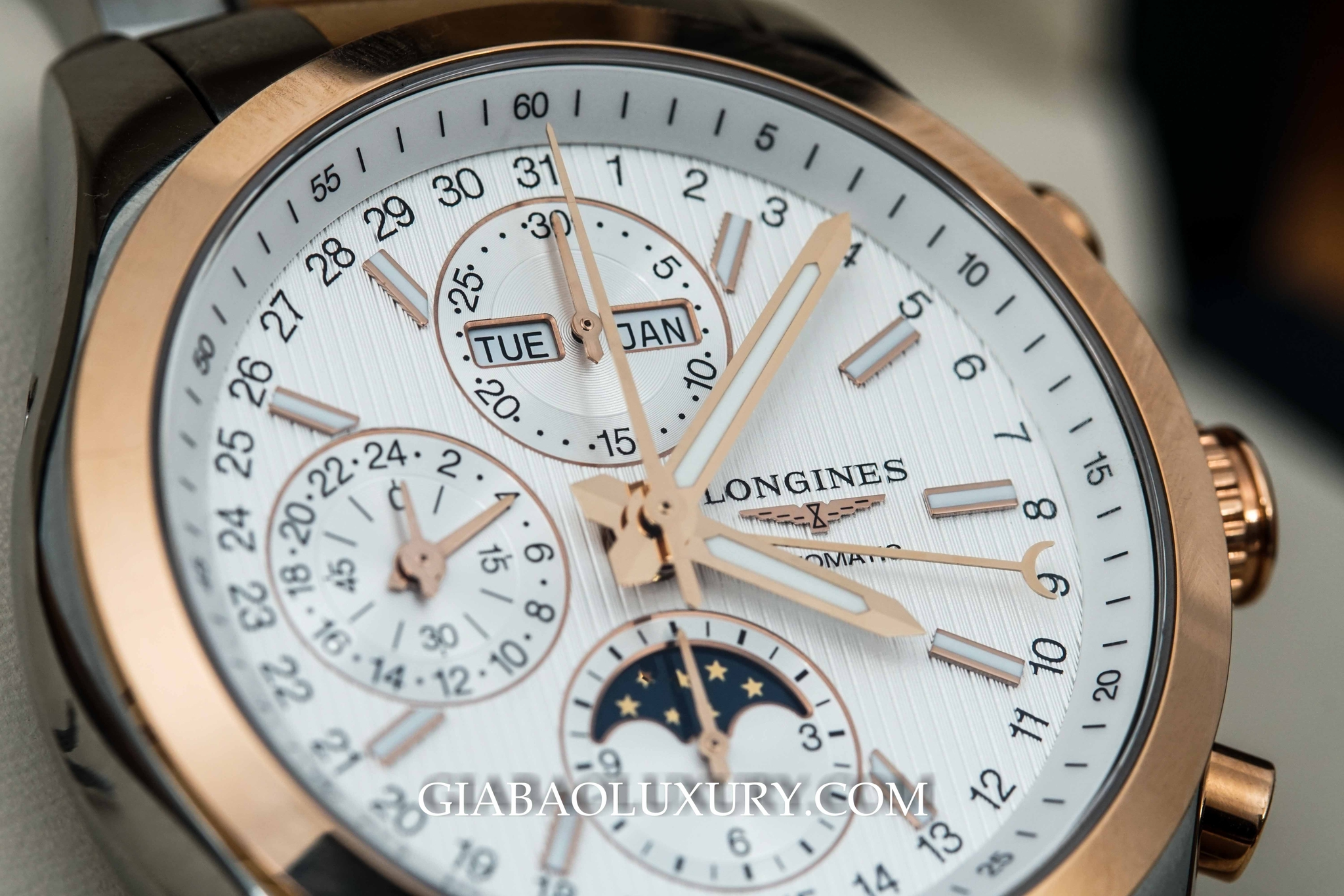 đồng hồ longines chronograph moonphase mặt trắng