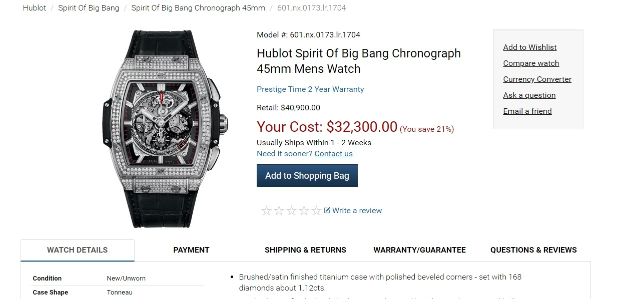 Đồng Hồ Hublot Spirit Of Big Bang 45mm 601.NX.0173.LR.1704