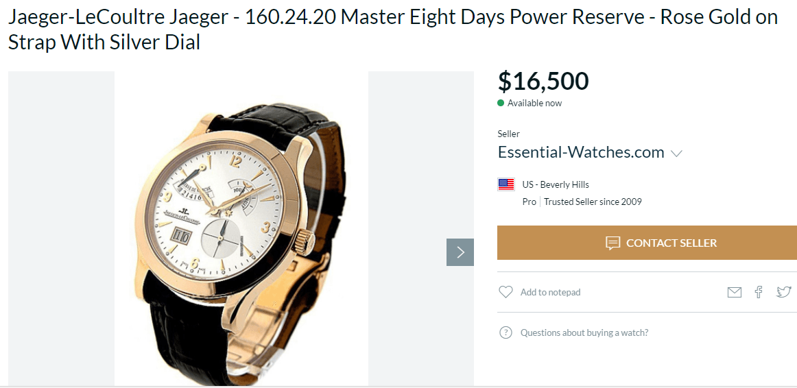 đồng hồ jaeger-le coultre master eight days power reserve