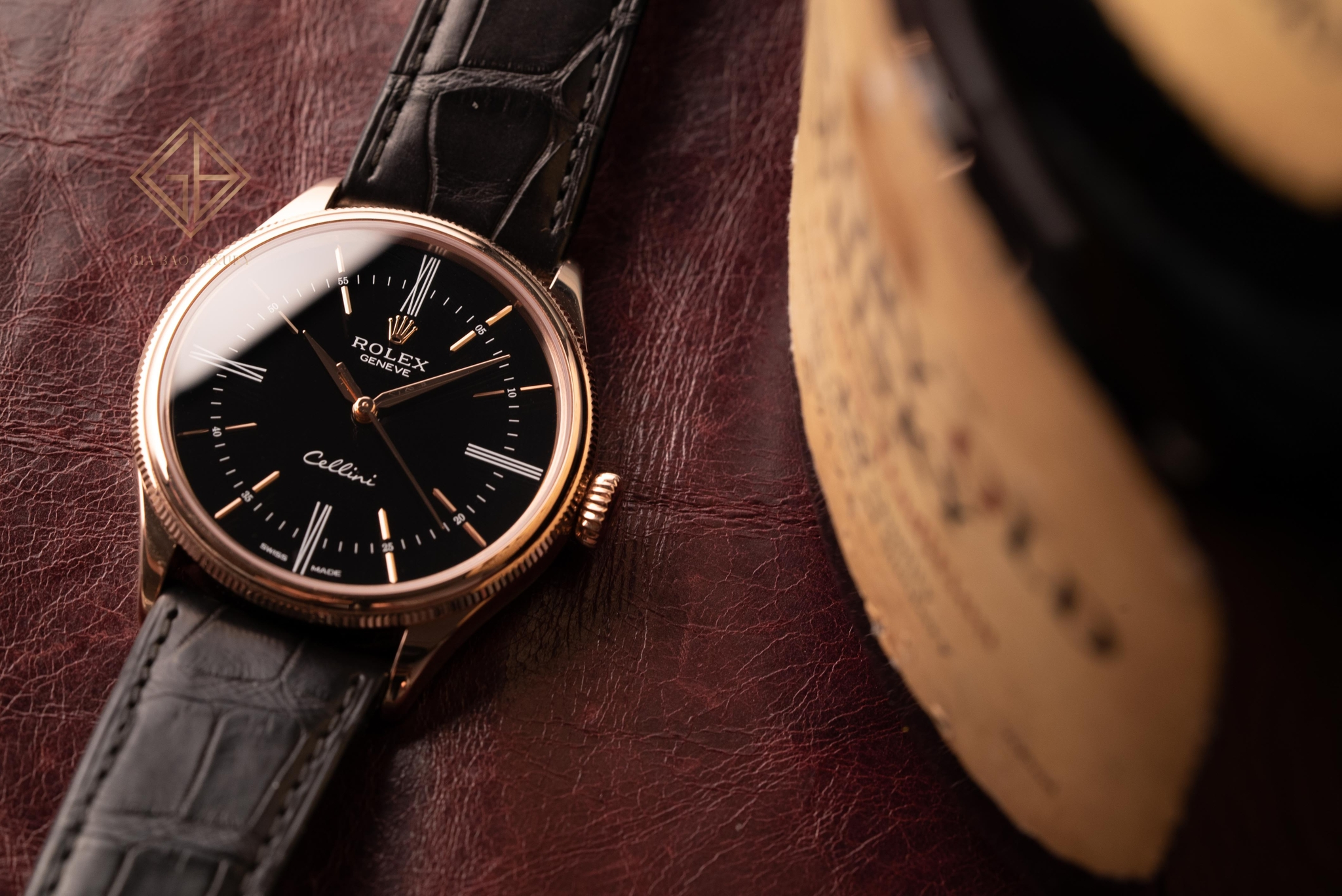 Đồng Hồ Rolex Cellini Time 50505 Mặt Số Đen