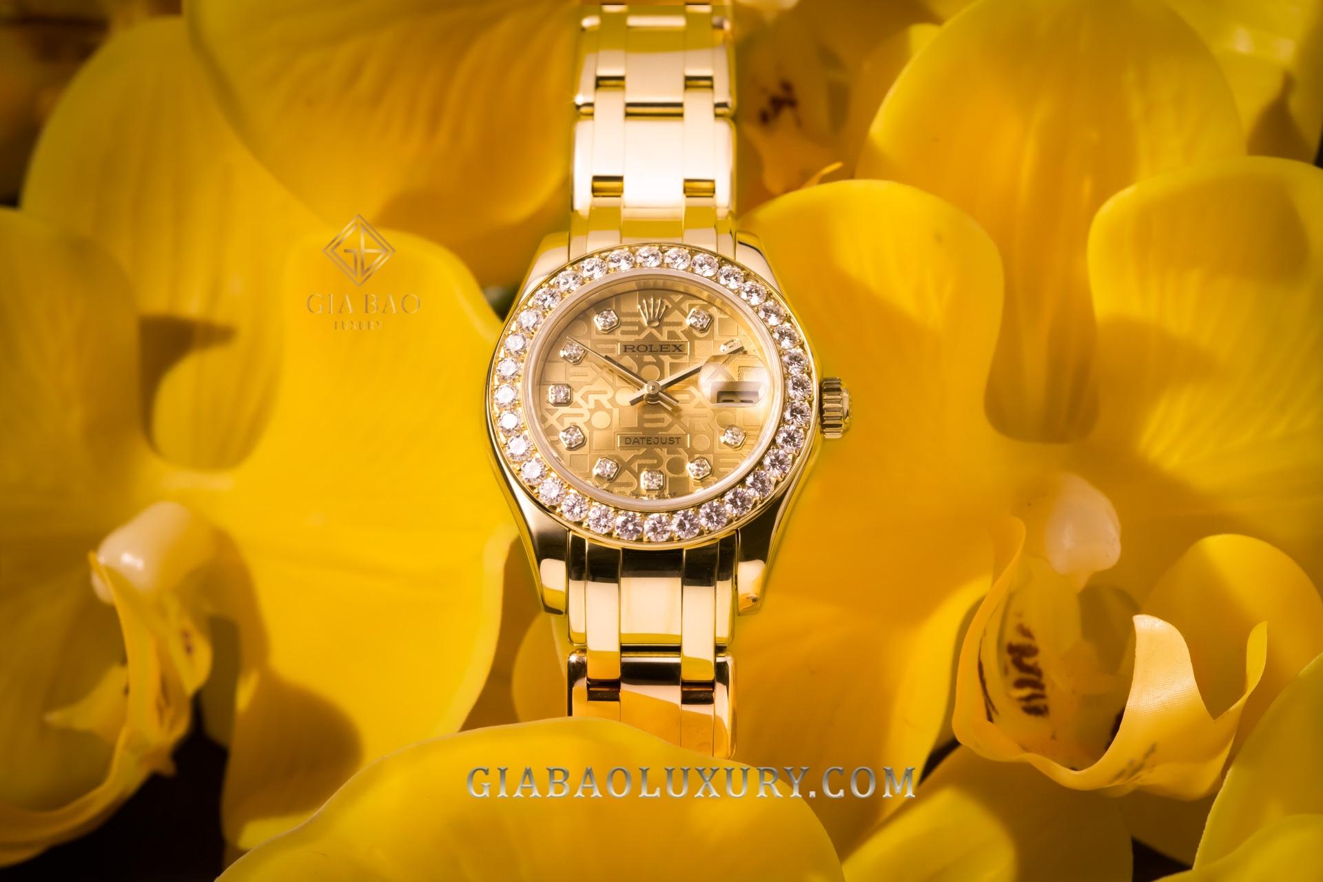 Đồng Hồ Rolex Pearlmaster 29 80298 Mặt Số Vi Tính Vàng