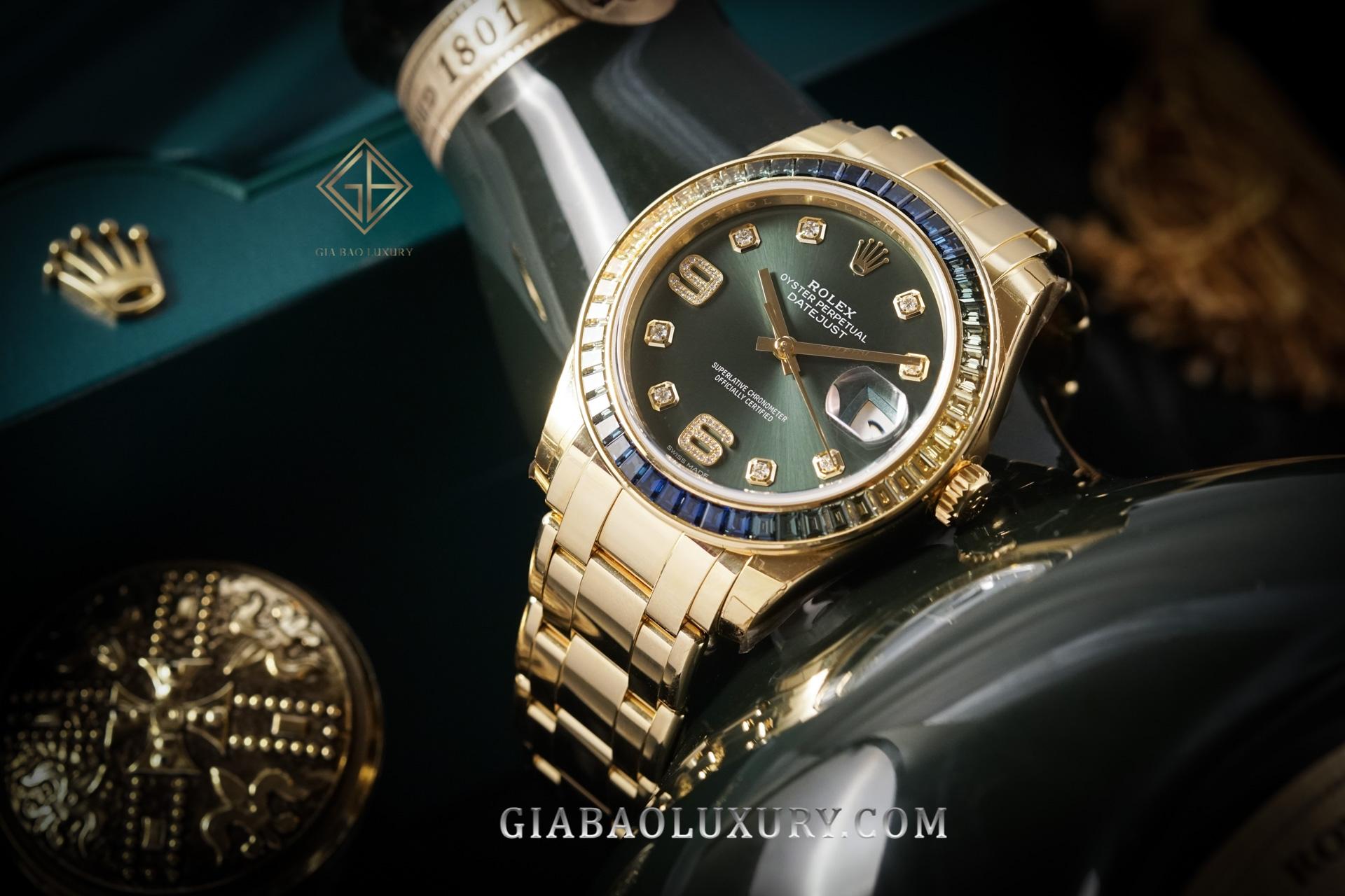Đồng hồ Rolex Pearlmaster 39 86348SABLV Mặt Số Xanh Oliu