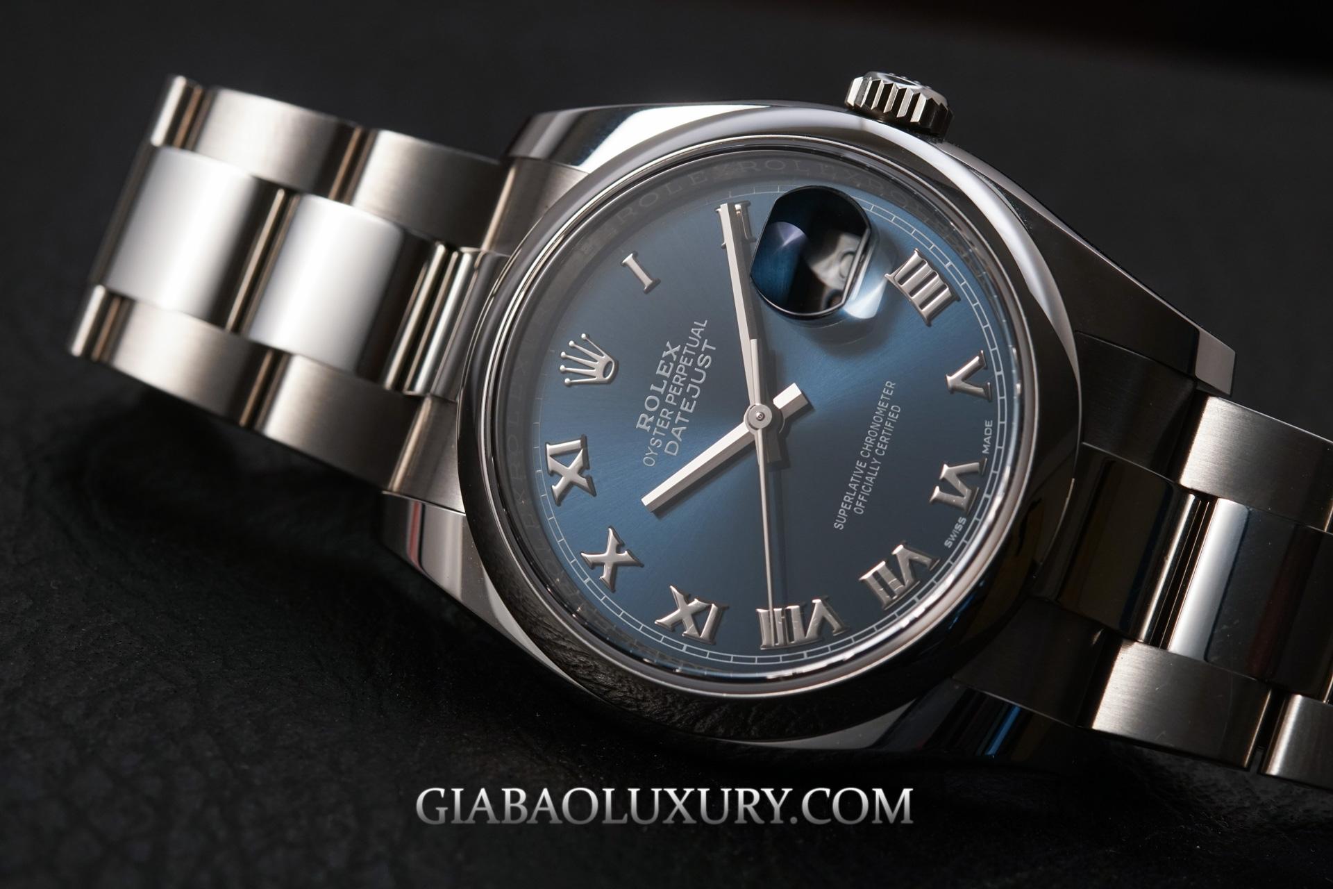Đồng Hồ Rolex Datejust 36 116200 Mặt Số Xanh Cọc Số La Mã Dây Đeo Oyster