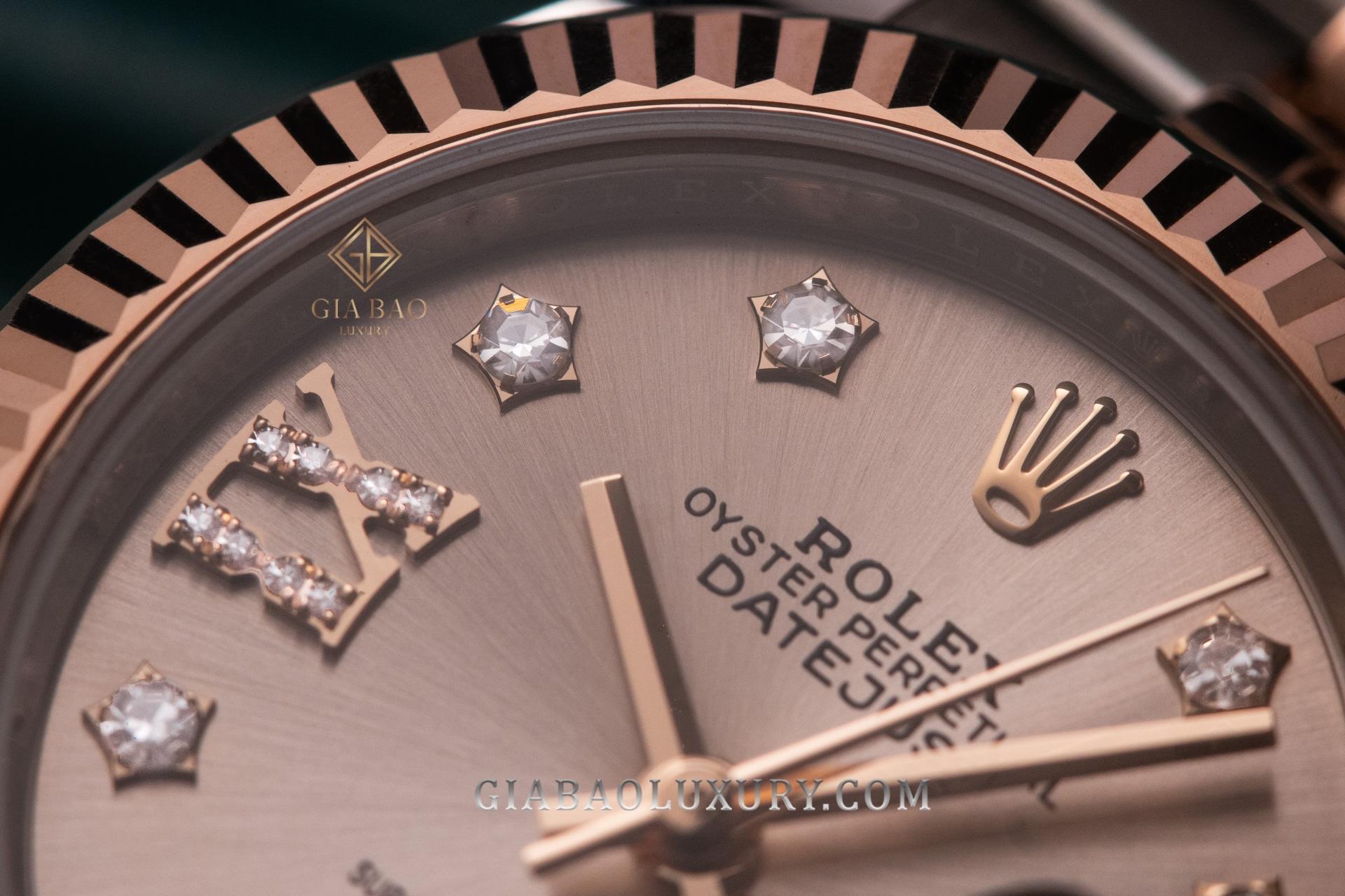 Đồng hồ Rolex Lady-Datejust 279171 Mặt Số Sundust Cọc Số Kim Cương Sao Góc 9h Cọc La Mã Đính Kim Cương