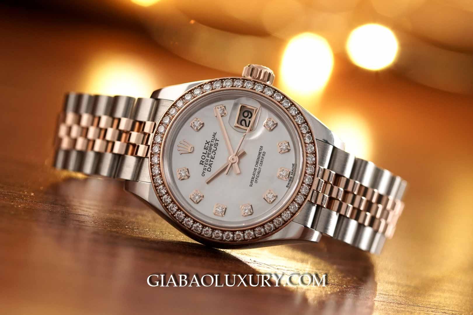 279381 - Rolex Lady Datejust với vành bezel và mặt số nạm kim cương