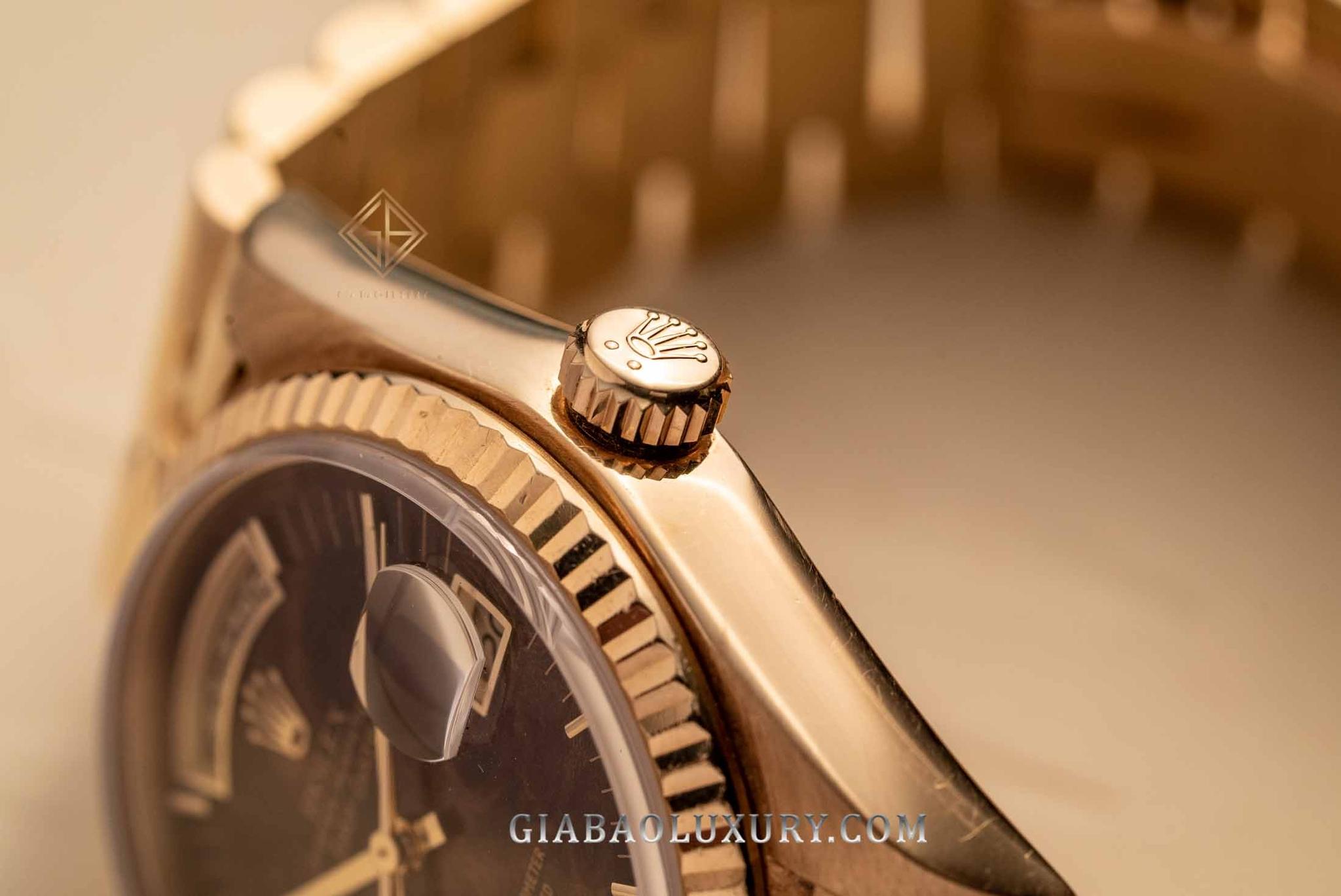 Review đồng hồ Rolex Day-Date 36 18038 Mặt Số Gỗ Burr (gỗ Nu)