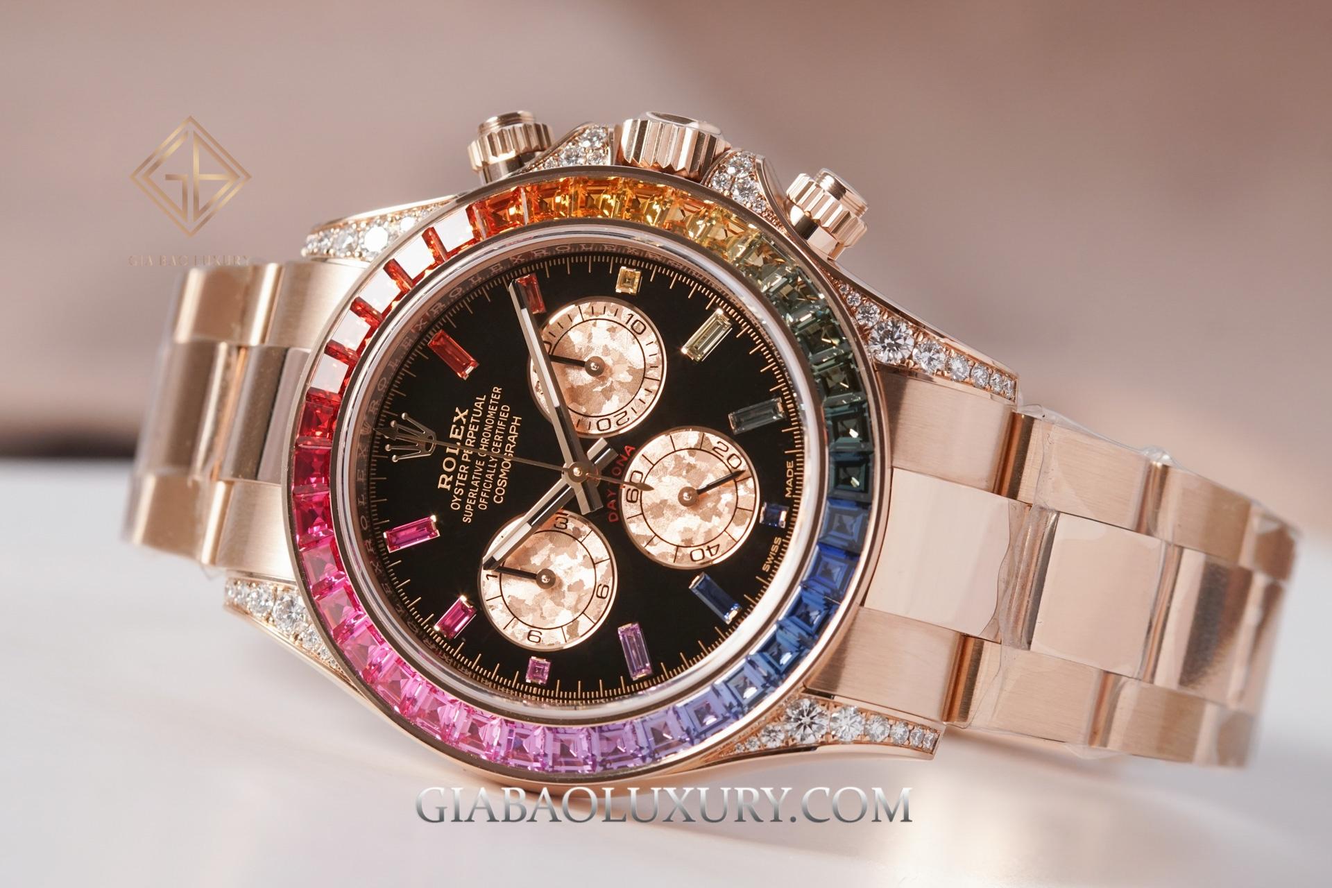 Đồng hồ Rolex Cosmograph Daytona 116595RBOW Mặt Số Đen Hồng