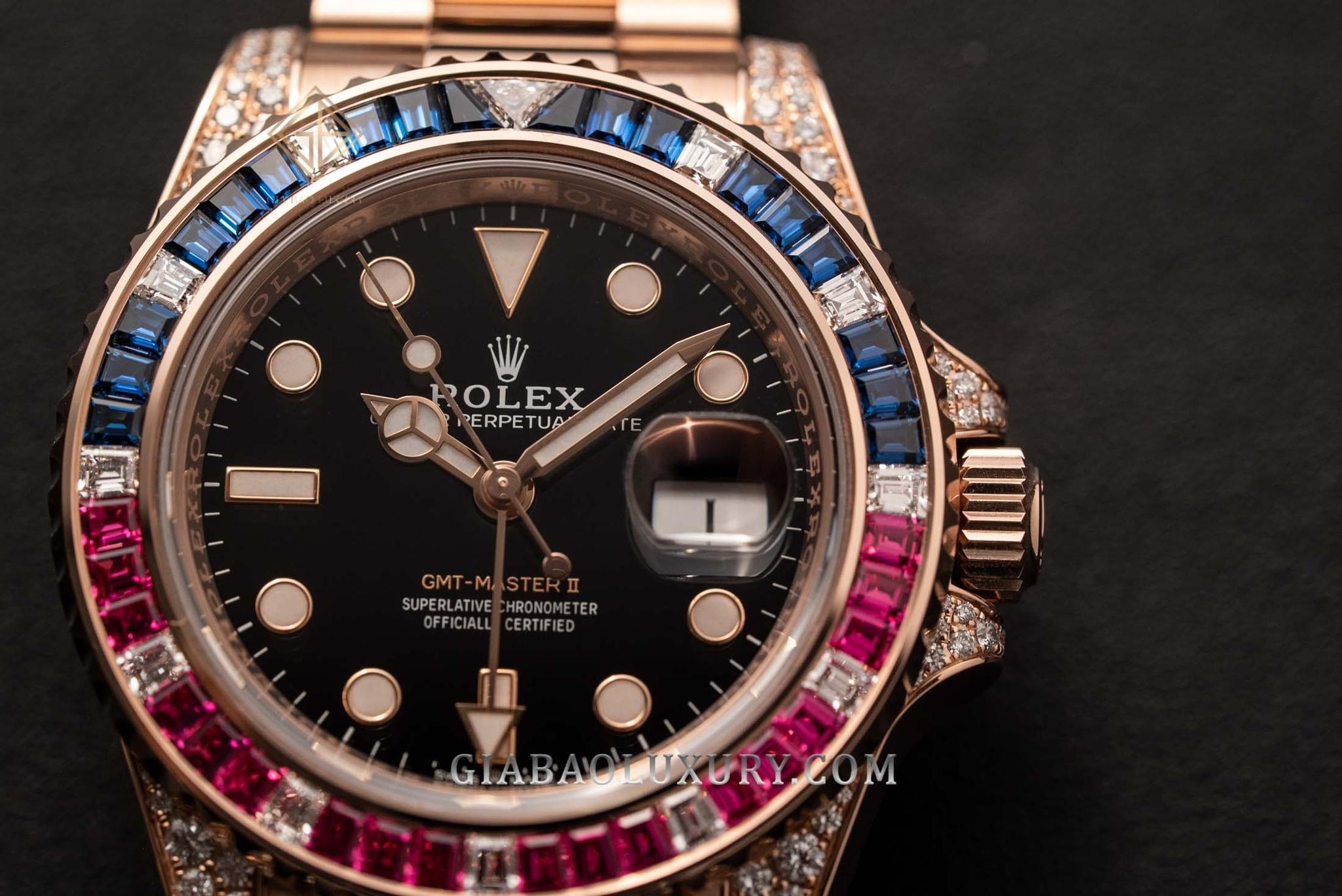 Đồng Hồ Rolex GMT-Master II 126755 SARU Mặt Đá Lấp Lánh
