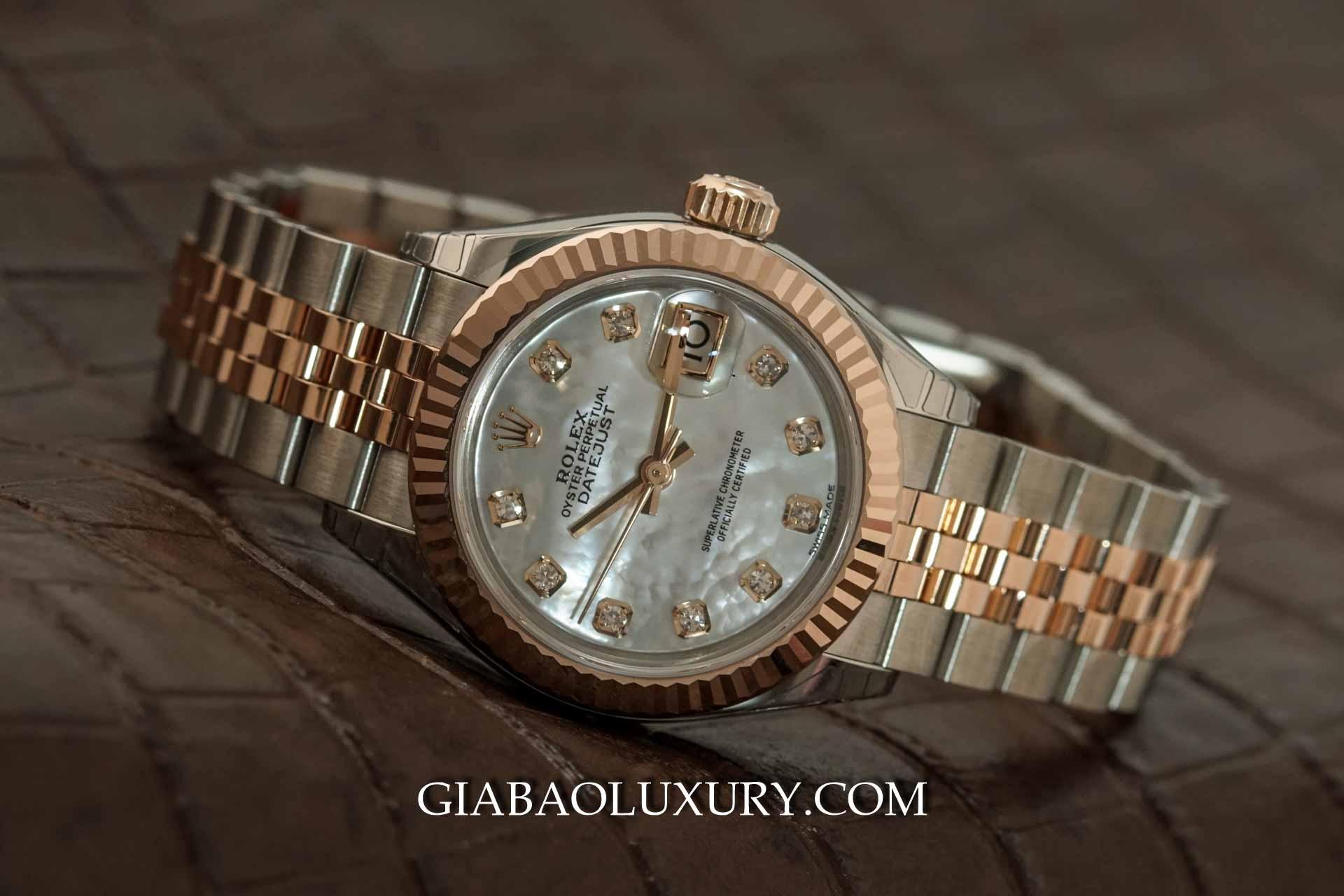 279171 - Rolex Lady Datejust với mặt ốc trắng và vành bezel khía
