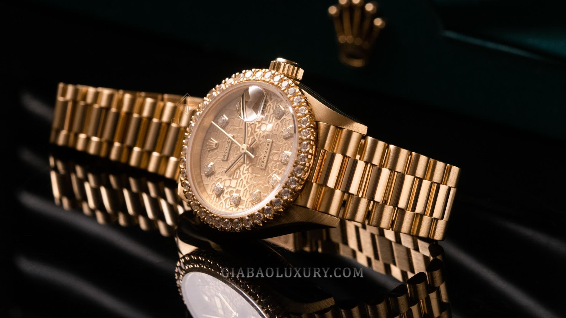 Đồng hồ Rolex Oyster Perpetual Datejust 69178 Mặt số vi tính vàng Champagne