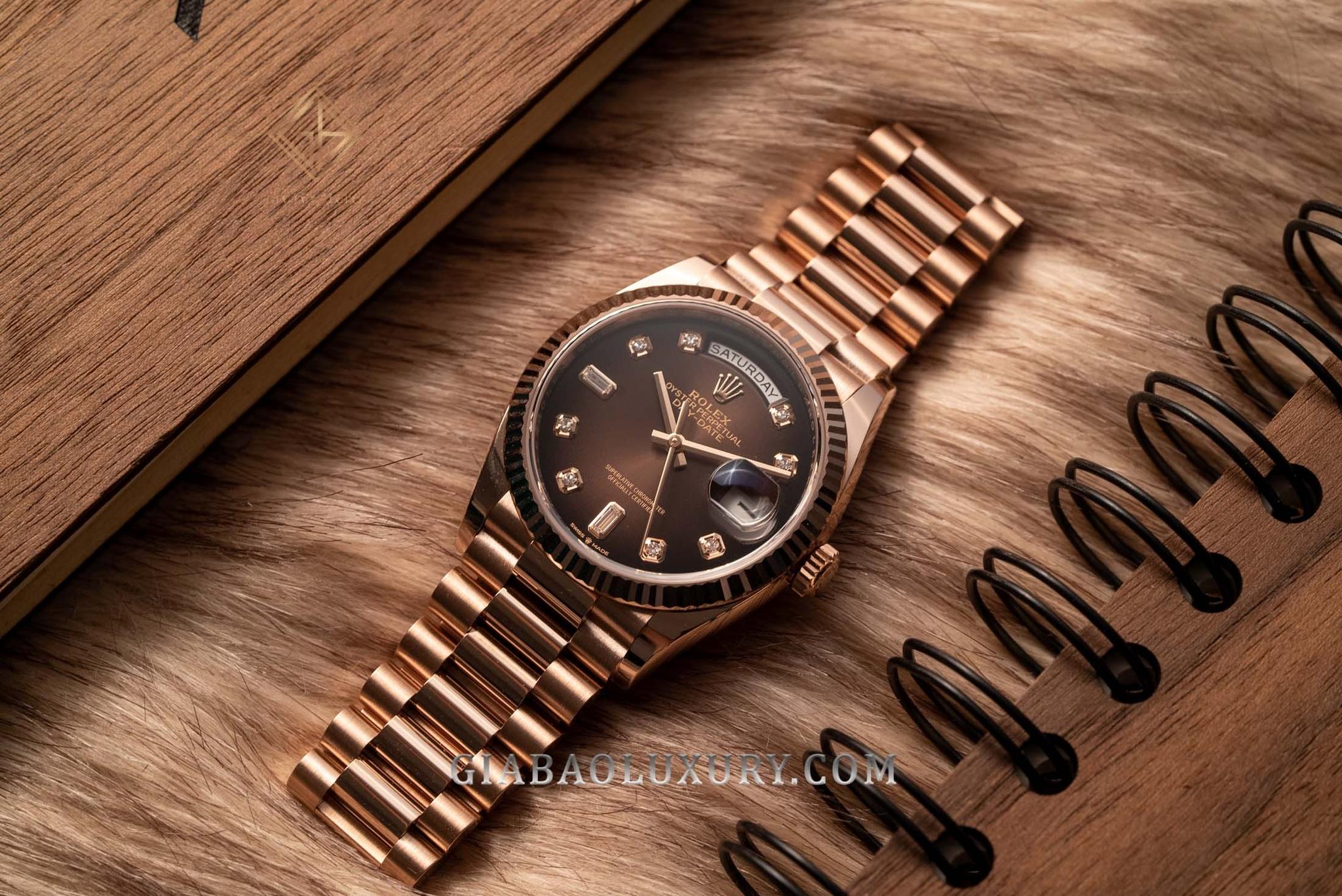 Review đồng hồ Rolex Day-Date 128235: Vàng Everose mặt chocolate - Sự kết hợp mang tính cộng hưởng