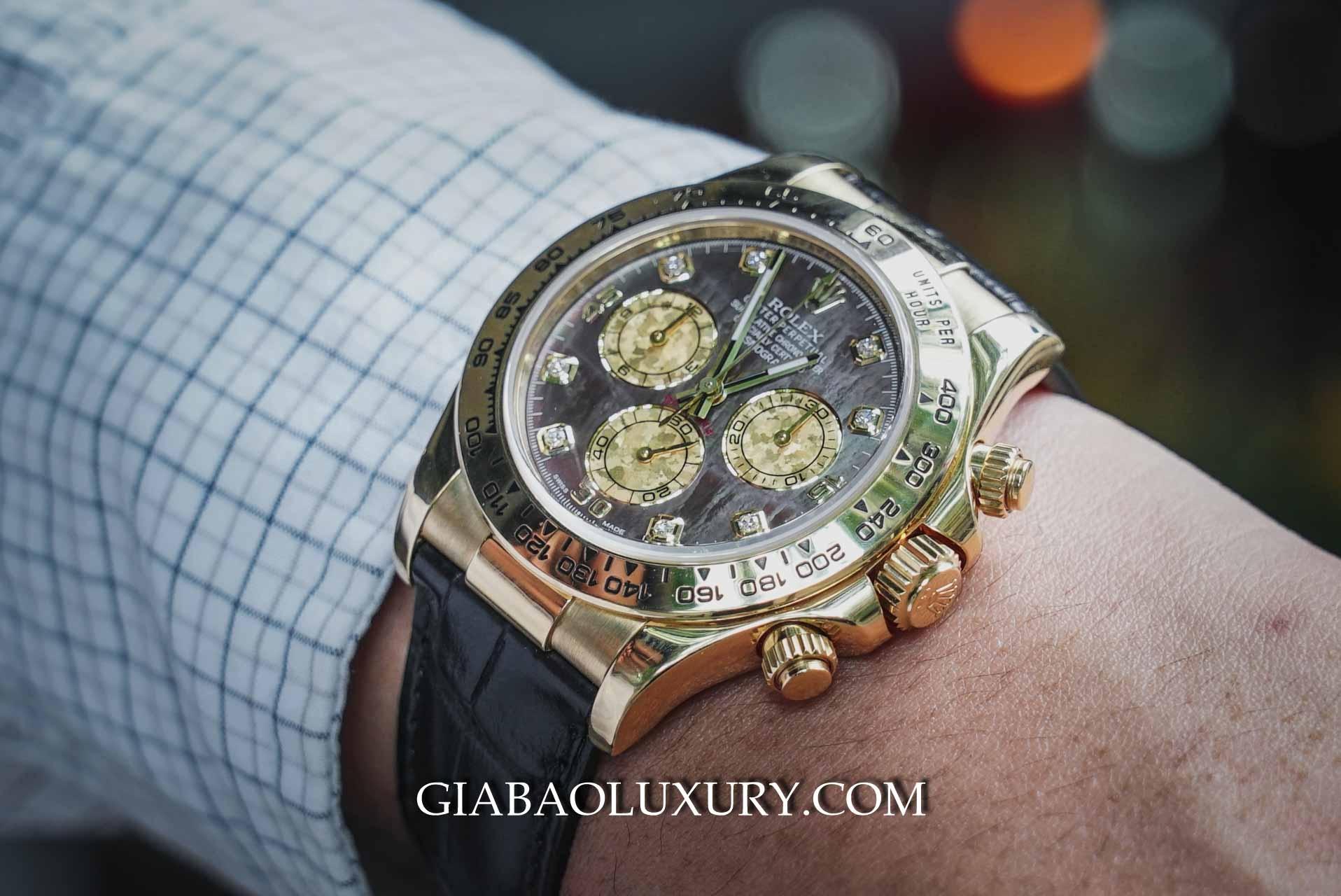 Đồng Hồ Rolex Cosmograph Daytona 116518 Vàng vàng, Mặt số xà cừ