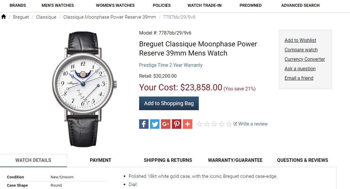 Đồng hồ Breguet Classicque Moonphase Power Reserve 7787BB/29/9V6