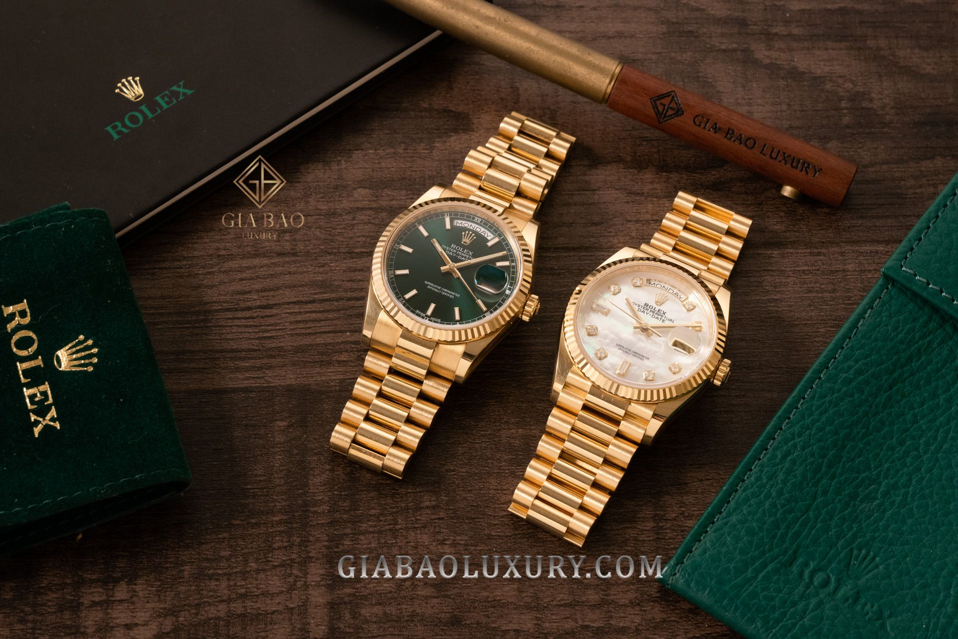 Đồng Hồ Rolex Day-Date 36 118238 Mặt Số Xanh Lá