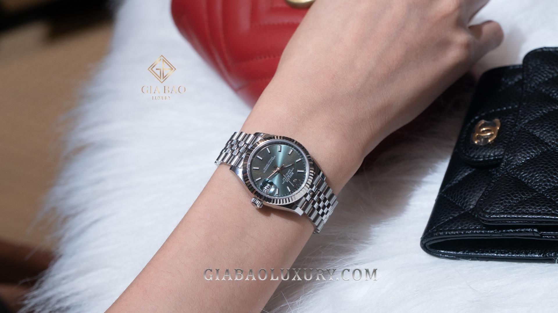 Đồng Hồ Rolex Datejust 278274 Mặt Số Xanh Cọc Số Dạ Quang