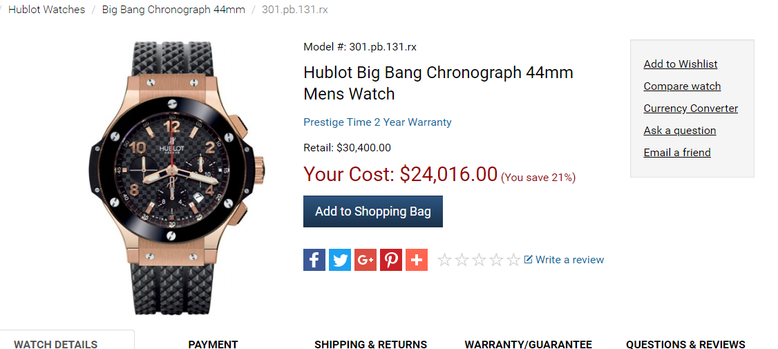 Đồng Hồ Hublot Big Bang Chronograph 44mm 301.PB.131.RX