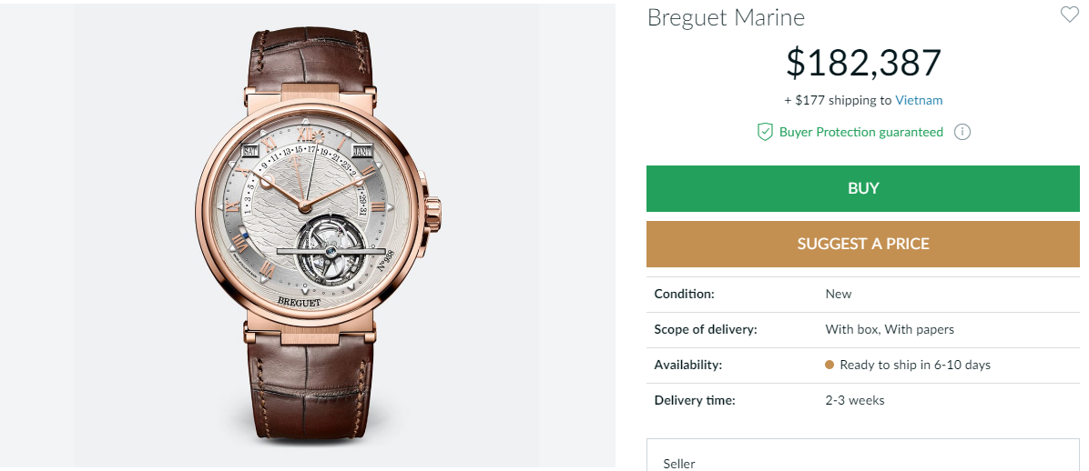 Đồng hồ Breguet Marine Equation Of Time Perpetual Tourbillon 5887BR/12/9WV