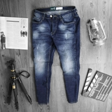 Quần jean Pull&Bear Torn Wash Dark Blue