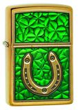 Zippo Clovers And Horseshoe Emblem Brushed Brass