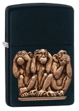 Zippo Three Monkeys Black Matte