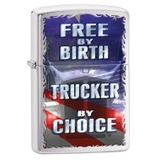 Zippo Free By Birth Trucker By Choice Brushed Chrome