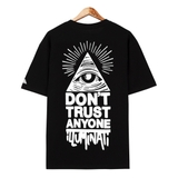 Áo thun flipper OVSZ ILLUMINATI Don't trust black