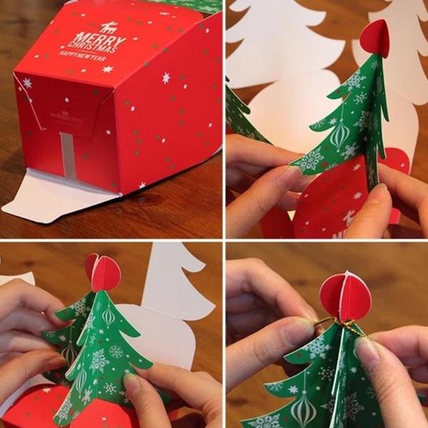 Hộp quà Noel hình cây thông kèm chuông -2