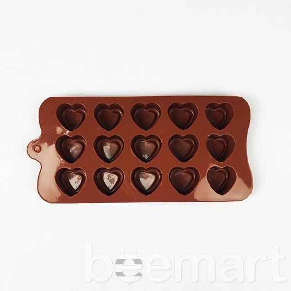 Khuôn silicon 15 hình trái tim kép 1