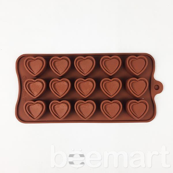 Khuôn silicon 15 hình trái tim kép 2