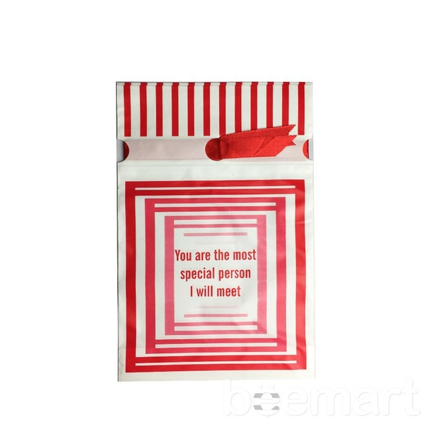 Túi đựng bánh cookies dây buộc kẻ sọc (10c) 1