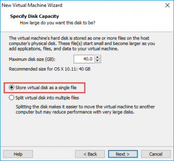 'Store virtual disk as a single disk'