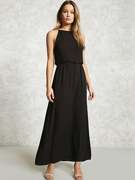 Maxi F21 -High-Neck Crinkle Maxi Dress