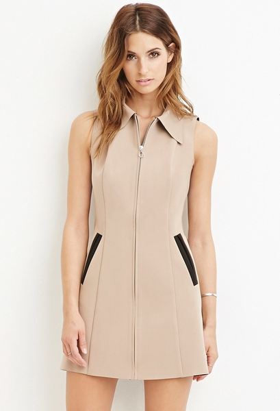 COLLARED ZIP-FRONT DRESS FOREVER21
